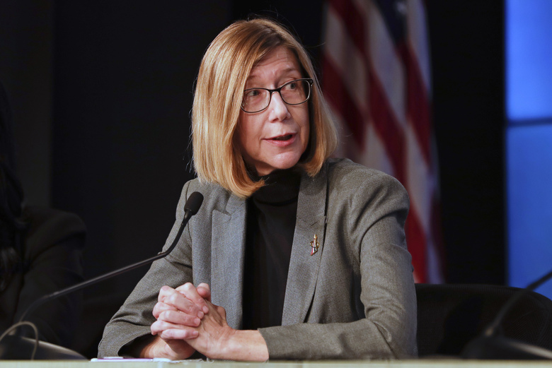 NASA Commercial Crew Program manger Kathy Lueders speaks during a news conference after a Falcon 9 SpaceX rocket test flight to demonstrate the capsule's emergency escape system at the Kennedy Space Center in Cape Canaveral, Fla., Sunday, Jan. 19, 2020. (AP Photo/John Raoux)