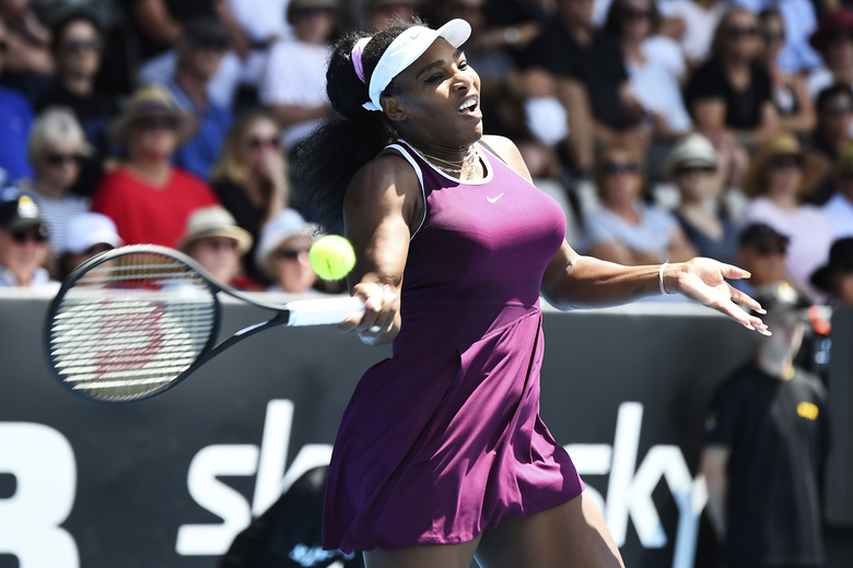 Serena Williams of the U.S. plays a forehand during her second round singles match against her compatriot Christina McHale at the ASB Classic tennis in Auckland, New Zealand, Thursday, Jan 9, 2020. (Chris Symes/Photosport via AP)