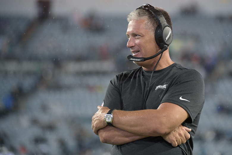 FILE – In this Aug. 15, 2019, file photo, Philadelphia Eagles defensive coordinator Jim Schwartz watches from the sideline during the second half of an NFL preseason football game against the Jacksonville Jaguars, in Jacksonville, Fla. Eagles defensive coordinator Jim Schwartz, who had a five-season run as Detroit's coach, is interviewing Wednesday, Jan. 8, 2020, with the Cleveland Browns. Schwartz is the sixth candidate to meet with the Browns, who are once again looking for a coach after another disappointing, losing season.(AP Photo/Phelan M. Ebenhack, File)