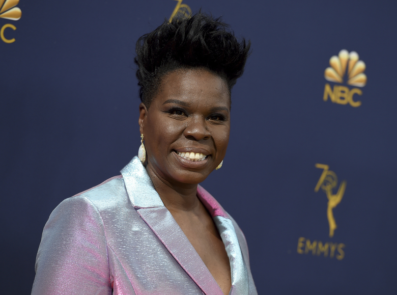 """FILE – This Sept. 17, 2018 file photo shows Leslie Jones at the 70th Primetime Emmy Awards in Los Angeles. The former """"Saturday Night Live"""" star will host a new version of the game-show """"Supermarket Sweep,"""" which originally aired on ABC from 1965-67. The show follows three teams of two as they compete using their grocery shopping skills and knowledge of merchandise to win cash prizes. (Photo by Jordan Strauss/Invision/AP, File)"""