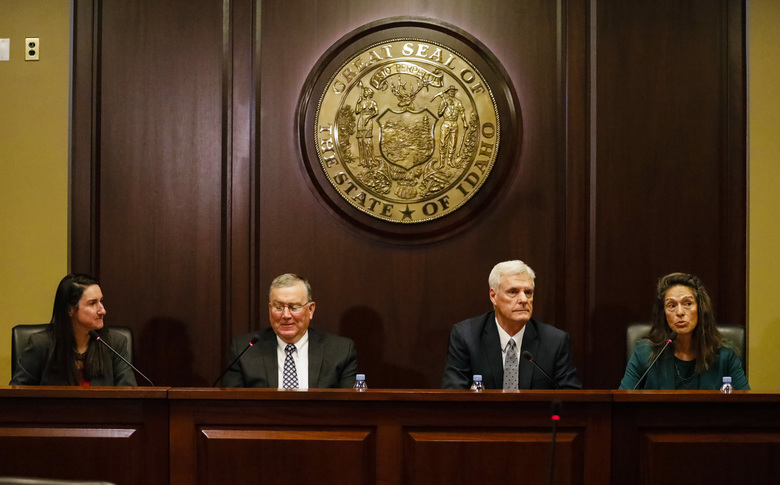 From left, Idaho House Minority Leader Ilana Rubel, D-Boise, House Speaker Scott Bedke, R-Oakley, Senate President Pro Tem Brent Hill, R-Rexburg, and Senate Minority Leader Michelle Stennett, D-Ketchum, speak to reporters about the upcoming 2019 legislative session at the State Capitol building Friday, Jan. 3, 2020, in Boise, Idaho. (AP Photo/Otto Kitsinger)