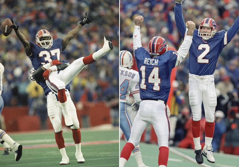 FILE – At left, in a Jan. 3, 1993, file photo, Buffalo Bills cornerback Nate Odoms gets a lift from teammate Henry Jones after intercepting a pass by Warren Moon of the Houston Oilers during an overtime period of an AFC wild-card game to set up Steve Christie's game winning field goal, in Orchard Park, N.Y. At right, Bills kicker Steve Christie, right, celebrates his game-winning field goal with quarterback Frank Reich. The Bills, down 32 points, beat the Oilers 41-38. (AP Photo/John Hickey, File)