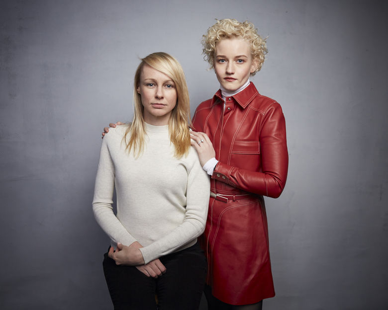 """Writer/director Kitty Green, left, and Julia Garner pose for a portrait to promote the film """"The Assistant"""" at the Music Lodge during the Sundance Film Festival on Sunday, Jan. 26, 2020, in Park City, Utah. (Photo by Taylor Jewell/Invision/AP)"""