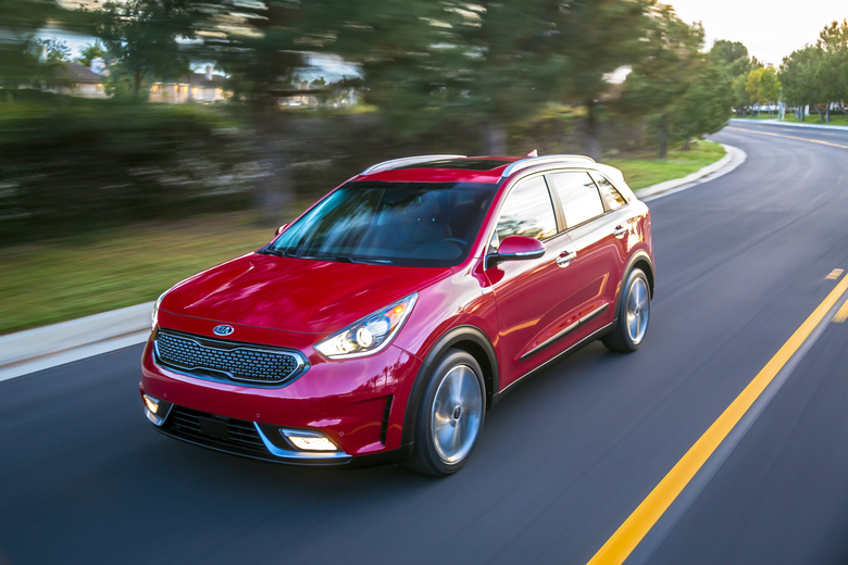 The 2019 Kia Niro is a hybrid compact SUV with an EPA-estimated 50 mpg in mixed driving. (Bruce Benedict/Kia Motors America via AP)