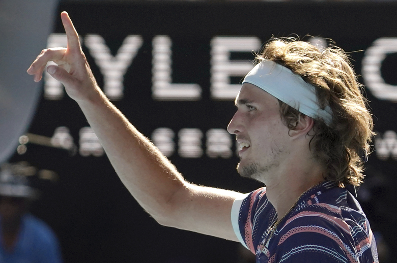 Germany's Alexander Zverev celebrates after defeating Switzerland's Stan Wawrinka in their quarterfinal match at the Australian Open tennis championship in Melbourne, Australia, Wednesday, Jan. 29, 2020. (AP Photo/Lee Jin-man)