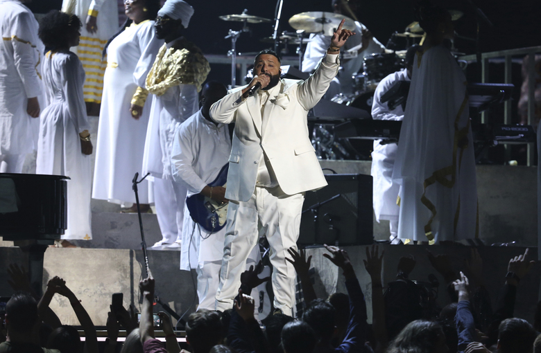 DJ Khaled performs during a tribute in honor of the late Nipsey Hussle at the 62nd annual Grammy Awards on Sunday, Jan. 26, 2020, in Los Angeles. (Photo by Matt Sayles/Invision/AP)