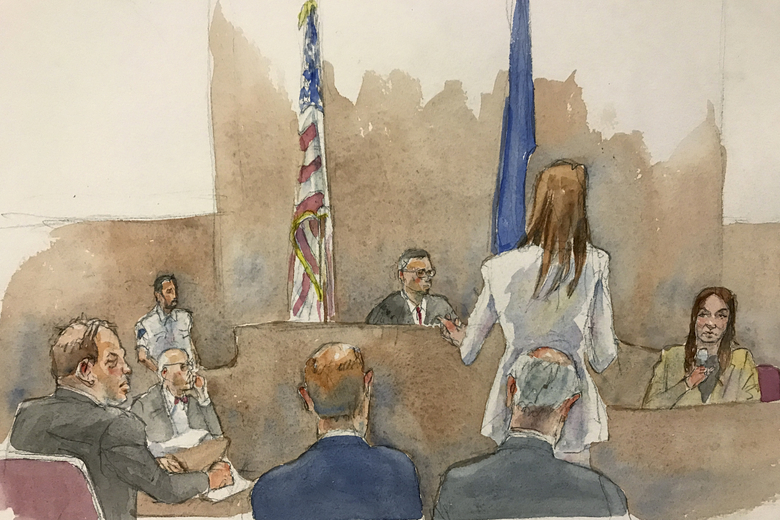 "In this courtroom sketch, defendant Harvey Weinstein, far left, listens, as Assistant District Attorney Megan Hast, standing before the bench second from right, gestures while witness Mimi Haleyi, far right, holds a microphone during Haleyi's testimony in Weinstein's sexual misconduct and rape trial, Monday, Jan. 27, 2019, in Manhattan Supreme Court in New York. Supreme Court Judge James Burke, above, is shown seated between two flags. Haleyi testified Monday that weeks after arriving in New York to work for one of his shows, she found herself fighting in vain as the once-revered showbiz honcho pushed her onto a bed and sexually assaulted her, undeterred by her kicks and pleas of, ""no, please don't do this, I don't want it."" (Aggie Kenny via AP)"