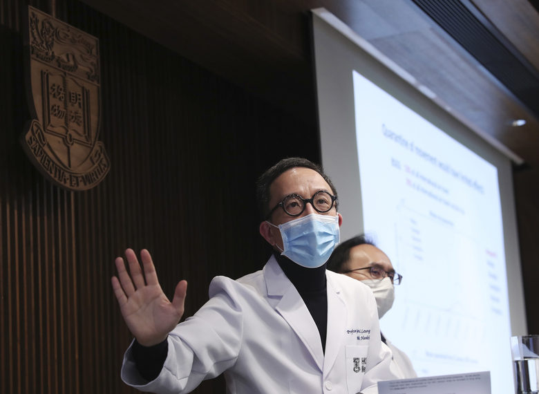 Chair Professor of public Health Medicine Gabriel Leung talks to media during a press conference in Hong Kong, Monday, Jan. 27, 2020. Hong Kong announced it would bar entry to visitors from the mainland province at the center of the outbreak. Travel agencies were ordered to cancel group tours nationwide following a warning the virus's ability to spread was increasing.(AP Photo/Achmad Ibrahim)