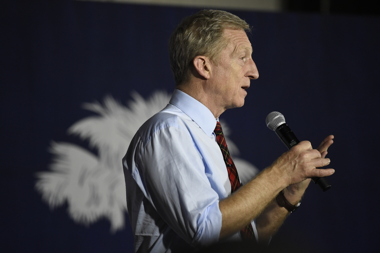 Democratic presidential hopeful Tom Steyer speaks at a campaign event in Florence, S.C., Saturday, Jan. 18, 2020. (AP Photo/Meg Kinnard)