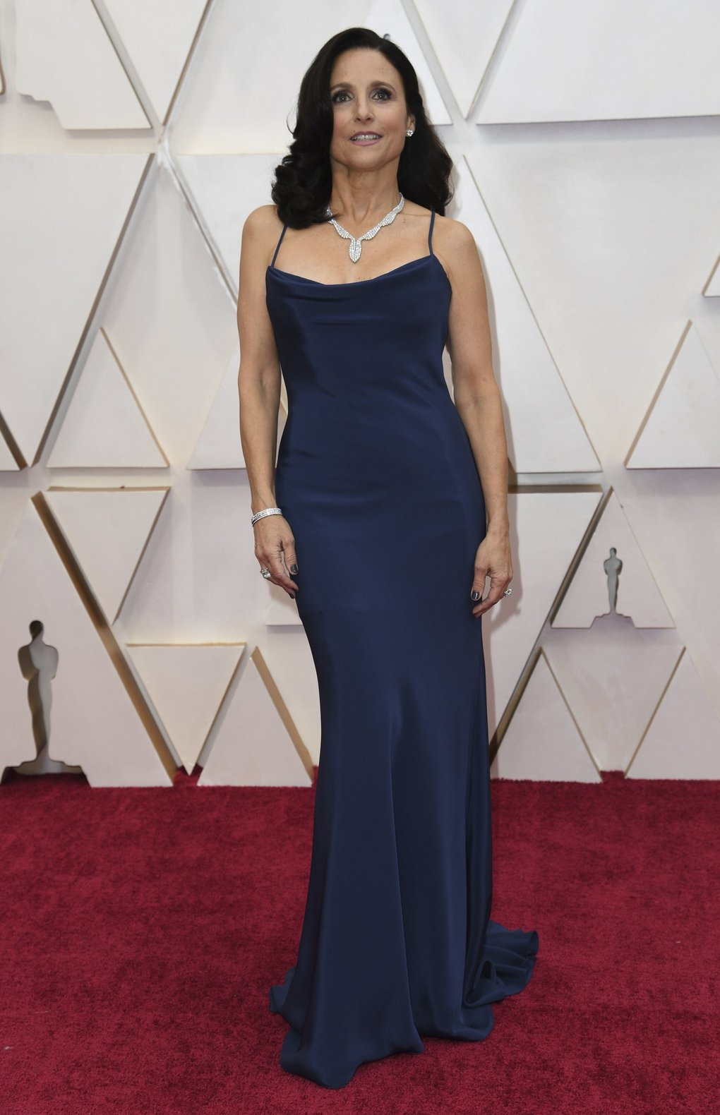 Julia Louis-Dreyfus arrives at the Oscars on Sunday, Feb. 9, 2020, at the Dolby Theatre in Los Angeles. (Photo by Richard Shotwell/Invision/AP)