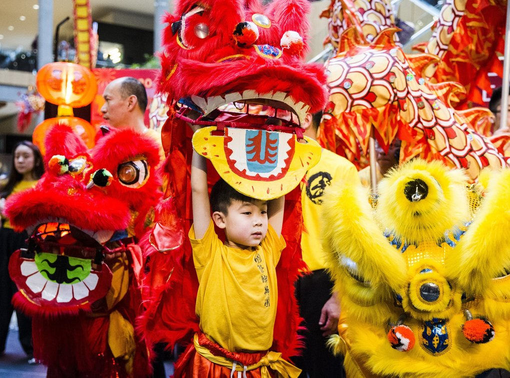 The International Lion Dance & Martial Arts Team performs a Chinese New Year blessing mask dance during the Lunar New Year celebration at Bellevue Square's Center Court in Bellevue on Saturday. (Amanda Snyder / The Seattle Times)