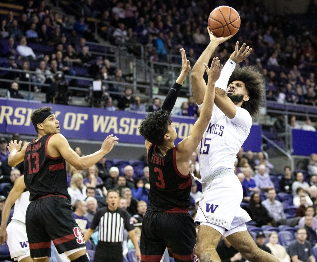 Washington Huskies guard Marcus Tsohonis (15) goes up for a shot against Stanford Cardinal guard Tyrell Terry (3) in the first half on Thursday, Feb. 20, 2020 at Alaska Airlines Arena. (Amanda Snyder / The Seattle Times)