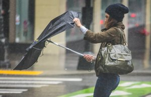 Friday, January 31, 2020.   Not a good day for umbrella's as pedestrians were being pulled down Pine Street from the wind.  212880