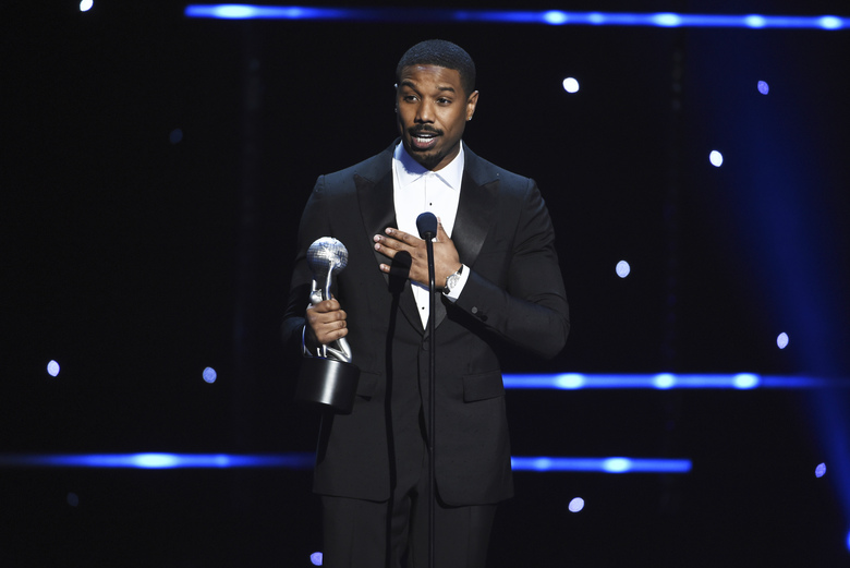 "Michael B. Jordan wins the award for outstanding actor in a motion picture for ""Just Mercy"" at the 51st NAACP Image Awards at the Pasadena Civic Auditorium on Saturday, Feb. 22, 2020, in Pasadena, Calif. (AP Photo/Chris Pizzello)"