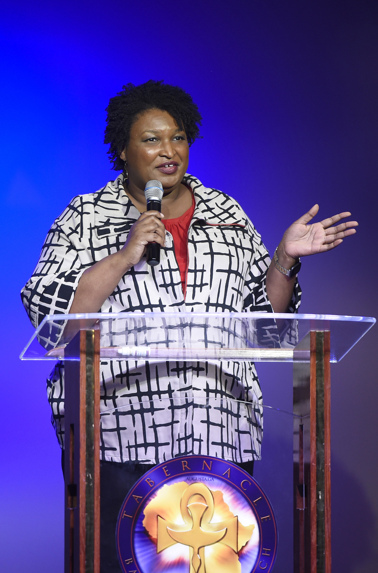 Former gubernatorial candidate Stacey Abrams campaigns for District 1 Commission candidate Jordan Johnson at the Tabernacle Baptist Church Family Life Center in Augusta, Ga., Friday, Jan. 31, 2019. (Michael Holahan/The Augusta Chronicle via AP)