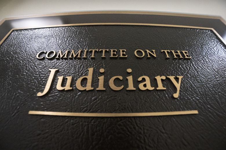 FILE – In this May 29, 2019 file photo, a sign at the office of the House Judiciary Committee is seen on Capitol Hill in Washington.  The House Judiciary Committee is launching a wide-ranging probe of Attorney General William Barr and the Justice Department, demanding briefings, documents and interviews with 15 officials about whether there has been improper political interference in federal law enforcement. (AP Photo/J. Scott Applewhite)
