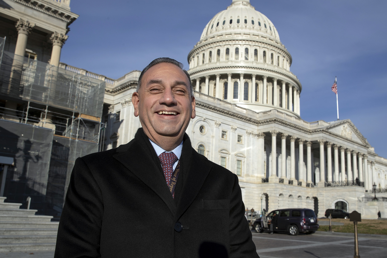 FILE – In this Nov. 29, 2018, file photo, then-Rep.-elect Gil Cisneros, D-Calif., stands in front of the Capitol during a week of orientation for incoming members, in Washington. Republicans are eager to recapture a string of California U.S. House seats a that the party lost in a 2018 rout, but the job is looking tougher: The numbers are running against them. State voter registration statistics show Democrats gaining ground in key battleground districts that the party seized two years ago, on its way to regaining control of the House. (AP Photo/J. Scott Applewhite, File)