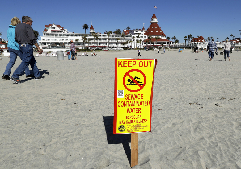 FILE – In this March 1, 2017 file photo, a sign warns of sewage contaminated ocean waters on a beach in front of the iconic Hotel del Coronado in Coronado, Calif. The San Diego region will get $300 million in federal funding for a new U.S. facility to capture sewage spills from Mexico before they foul shorelines north of the border. The Los Angeles Times reported Sunday, Feb. 2, 2020, the money will be allocated thanks to language included in the overhaul of the North American Free Trade Agreement signed by President Trump on Jan. 29. (AP Photo/Gregory Bull, File)