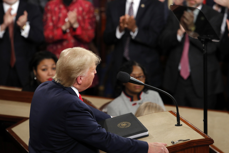 President Donald Trump delivers his State of the Union address to a joint session of Congress on Capitol Hill in Washington, Tuesday, Feb. 4, 2020. (AP Photo/J. Scott Applewhite)