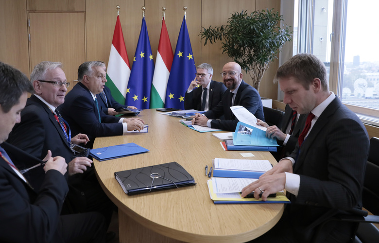 Hungarian Prime Minister Viktor Orban, third left, meets with European Council President Charles Michel, third right, on the sidelines of an EU summit in Brussels, Thursday, Feb. 20, 2020. After almost two years of sparring, the EU will be discussing the bloc's budget to work out Europe's spending plans for the next seven years. (Virginia Mayo, Pool)