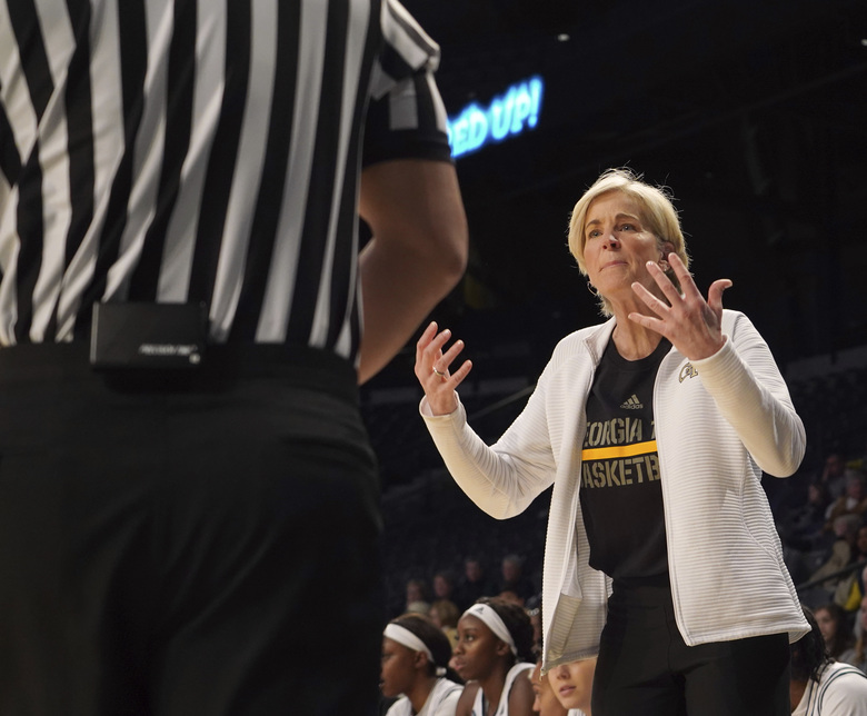 Georgia Tech head coach Nell Fortner reacts to the referee after a call during an NCAA college basketball game against Louisville during the first half Thursday, Feb. 20, 2020, in Atlanta, Ga(AP Photo/Tami Chappell)
