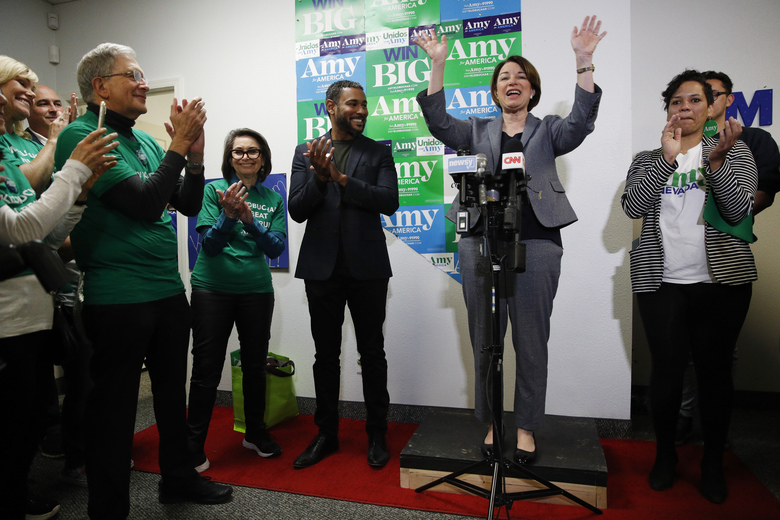 Democratic presidential candidate Sen. Amy Klobuchar, D-Minn., speaks while visiting a campaign office, Saturday, Feb. 22, 2020, in Las Vegas. (AP Photo/John Locher)