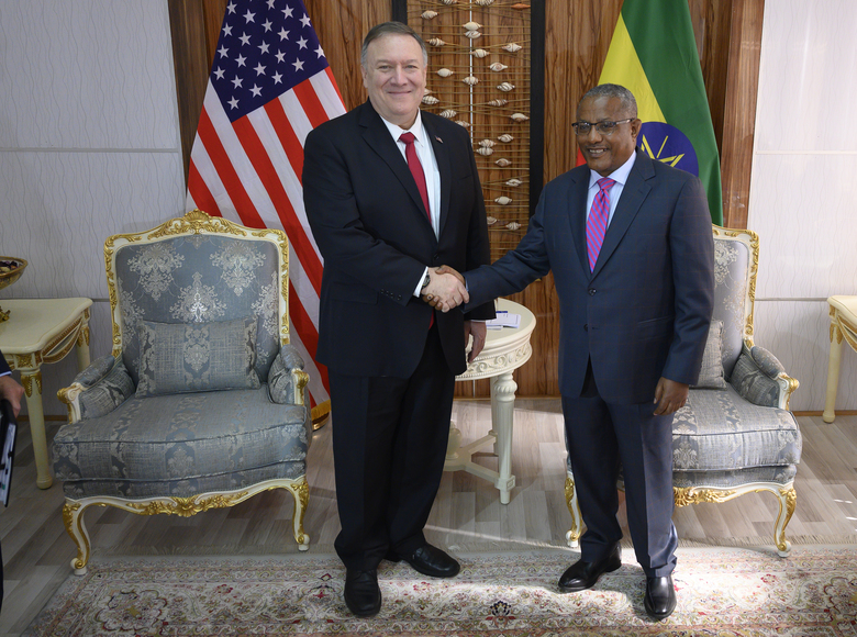US Secretary of State Mike Pompeo, left, meets with Ethiopian Minister of Foreign Affairs Gedu Andargachew at the Foreign Ministry in Addis Ababa, Tuesday Feb. 18, 2020. Pompeo's visit to Africa is the first by a Cabinet official in 18 months. (Andrew Caballero-Reynolds/Pool via AP)