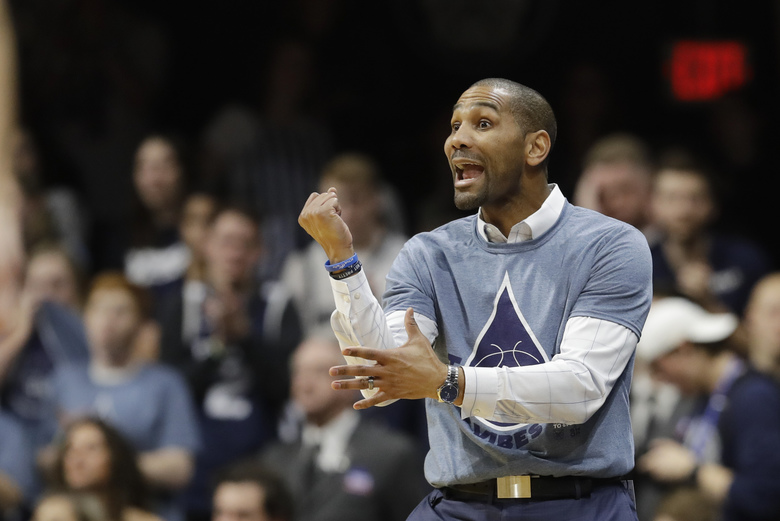 Butler head coach LaVall Jordan shouts instructions during the second half of an NCAA college basketball game against Marquette, Friday, Jan. 24, 2020, in Indianapolis. Butler won, 89-85, in overtime. (AP Photo/Darron Cummings)
