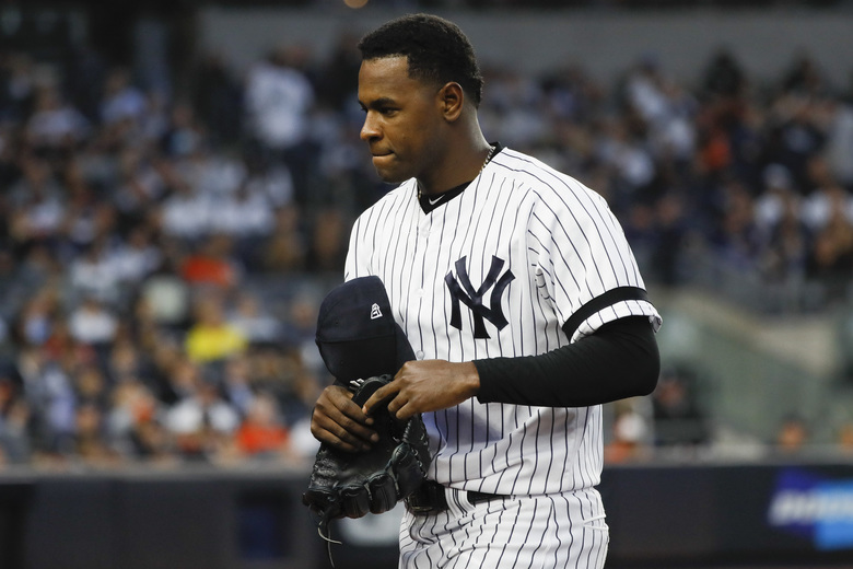 "FILE – In this Oct. 15, 2019, file photo, New York Yankees starting pitcher Luis Severino leaves the game against the Houston Astros during the fifth inning in Game 3 of baseball's American League Championship Series in New York. Severino needs Tommy John surgery and will miss the 2020 season, another setback for the two-time All-Star and the rotation of the AL East favorites. ""His plan is to have it done as soon as possible,"" Yankees general manager Brian Cashman said Tuesday, Feb. 25, 2020. (AP Photo/Matt Slocum, File)"