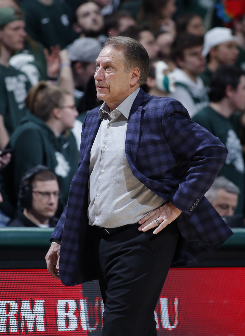 Michigan State coach Tom Izzo reacts during the second half of the team's NCAA college basketball game against Penn State, Tuesday, Feb. 4, 2020, in East Lansing, Mich. Penn State won 75-70. (AP Photo/Al Goldis)