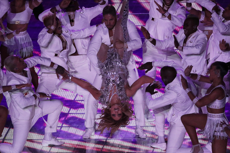 Jennifer Lopez performs during the halftime show at the NFL Super Bowl 54 football game between the San Francisco 49ers and Kansas City Chiefs', Sunday, Feb. 2, 2020, in Miami Gardens, Fla. (AP Photo/Charlie Riedel)