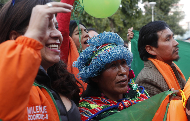 Supporters of presidential candidate Carlos Mesa rally outside the Supreme Electoral Tribunal after he was registered as a candida in La Paz, Bolivia, Monday, Feb. 3, 2020. Bolivia will hold general elections on May 3. (AP Photo/Juan Karita)