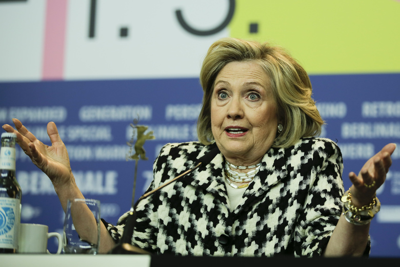 Former US Secretary of State, Hillary Clinton, attends a news conference for the film 'Hillary' during the 70th International Film Festival Berlin, Berlinale in Berlin, Germany, Tuesday, Feb. 25, 2020. (AP Photo/Markus Schreiber)