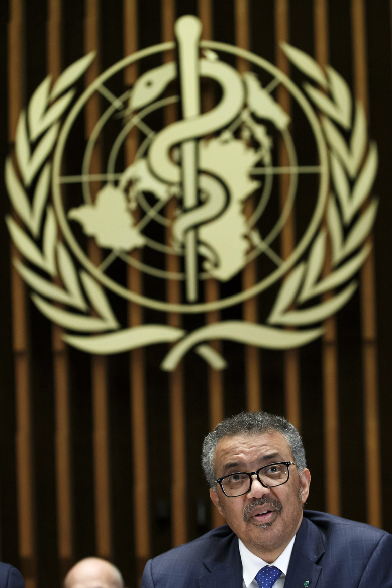 Tedros Adhanom Ghebreyesus, Director General of the World Health Organization (WHO), gives a statement to the media about the response to the COVID-19 virus outbreak, at the World Health Organization (WHO) headquarters in Geneva, Switzerland, Wednesday, Feb. 12, 2020.  The disease caused by the novel coronavirus (SARS-CoV-2) has been officially named COVID-19 by the World Health Organization (WHO). (Salvatore Di Nolfi/Keystone via AP)