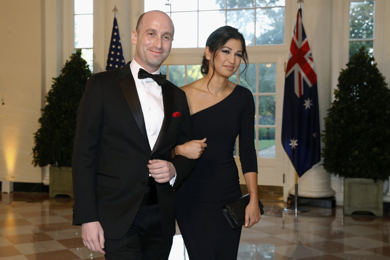 FILE – In this Sept. 20, 2019, file photo, President Donald Trump's White House Senior Adviser Stephen Miller, left, and Katie Waldman arrive for a state dinner with Australian Prime Minister Scott Morrison and Trump at the White House in Washington. Trump went from the Daytona 500 on Sunday, Feb. 16, 2020, to attending the wedding of the two top members of his administration, Miller and Waldman, press secretary for Vice President Mike Pence. (AP Photo/Patrick Semansky, File)