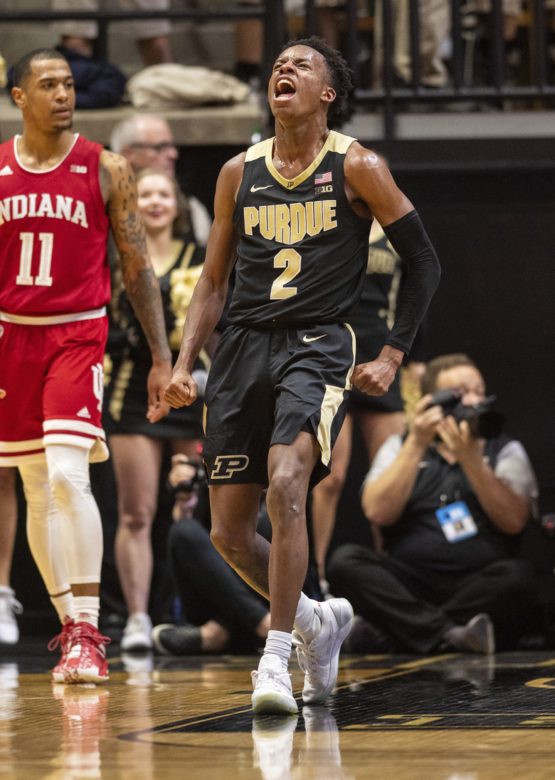 Purdue guard Eric Hunter Jr. (2) reacts after hitting a buzzer-beater at the end the first half of an NCAA college basketball game against Indiana, Thursday, Feb. 27, 2020, in West Lafayette, Ind. (AP Photo/Doug McSchooler)