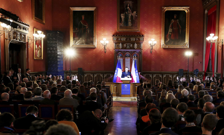 French President Emmanuel Macron delivers his speech to students and intellectuals at the Jagiellonian University for a lecture on the future of a united Europe in Krakow, Poland, Tuesday, Feb. 4, 2020.(AP Photo/Czarek Sokolowski)