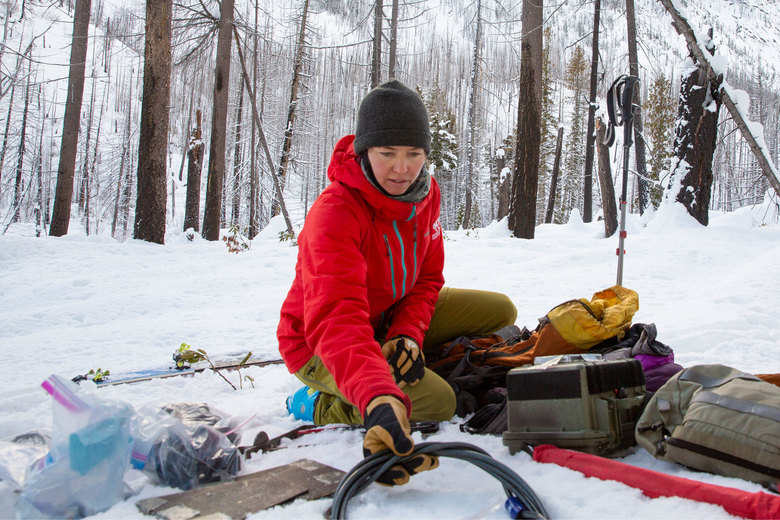 Cascades Wolverine Project founder Stephanie Williams lays out equipment on a trip to record images of wolverines in the North Cascades.