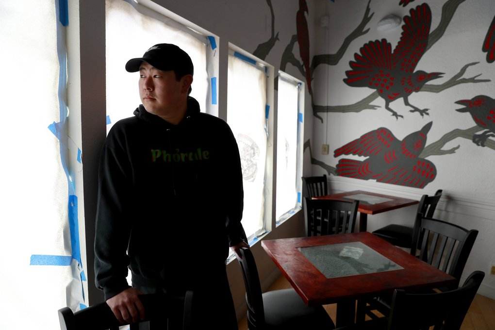 Young Cho, owner of the Phorale food truck, was planning to open his new restaurant in White Center in late March. With the coronavirus outbreak, his food truck is not going out and he's not sure what to do about the restaurant. (Erika Schultz / The Seattle Times)