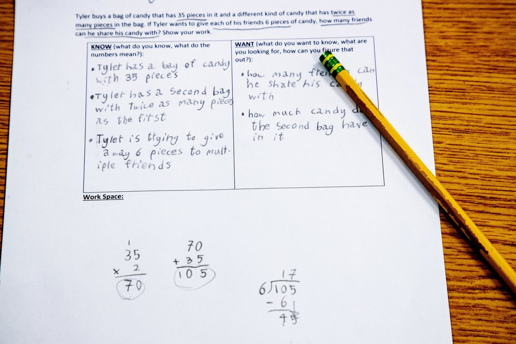 Worksheets and assignments have migrated from the classroom to the kitchen table during the current school closures. (Mike Siegel / The Seattle Times, 2019)