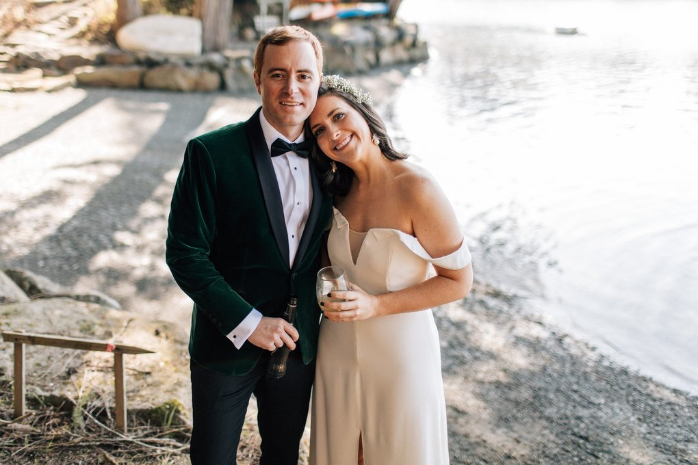 Evan Corr and Katie Clark on their wedding day, which was downsized drastically. (Stefan & Audrey)