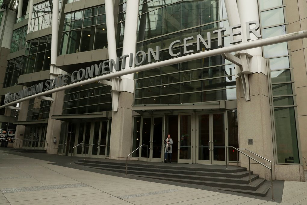 While major events at the Washington State Convention Center have been canceled, seven smaller-scale conferences are still scheduled. (Erika Schultz / The Seattle Times)