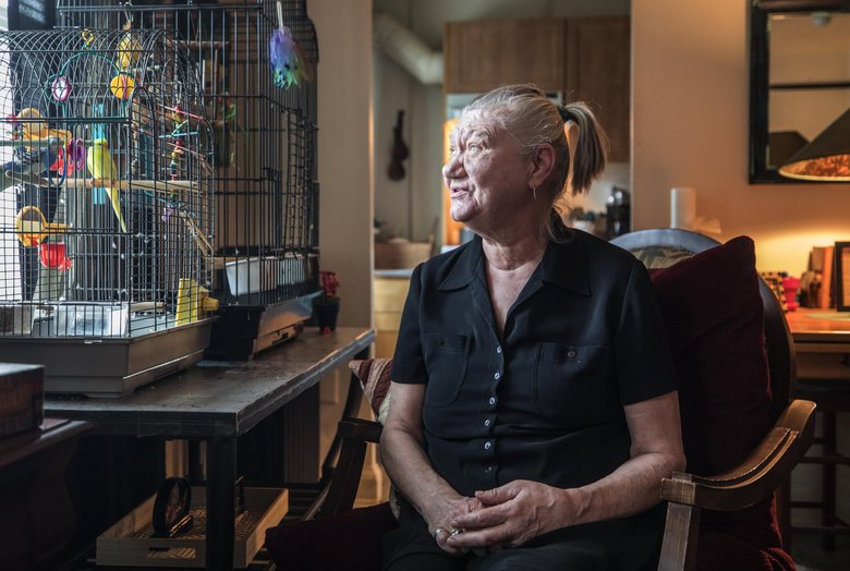 Alise Way is facing eviction in Seattle and fears making visits to the courthouse because she has cancer and is at risk for picking up the coronavirus. (Steve Ringman / The Seattle Times)
