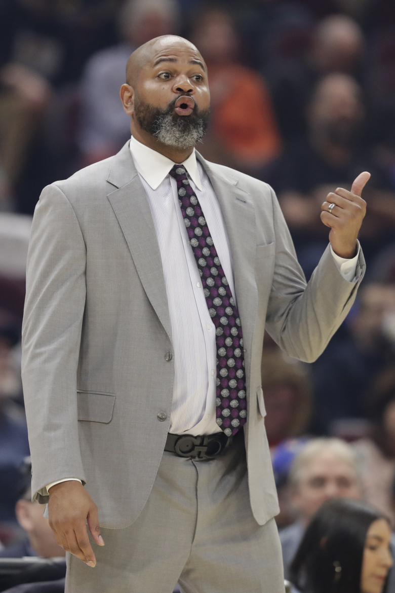 Cleveland Cavaliers head coach J.B. Bickerstaff gives instructions to players in the first half of an NBA basketball game against the San Antonio Spurs, Sunday, March 8, 2020, in Cleveland. (AP Photo/Tony Dejak)