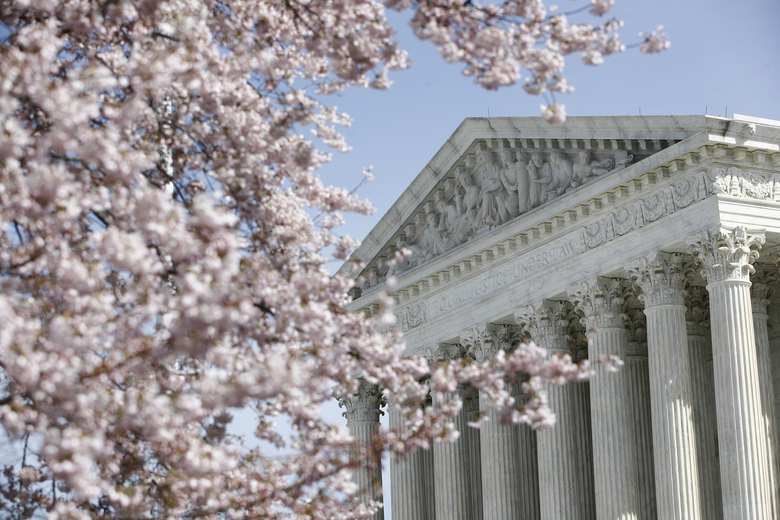 A tree blooms outside the Supreme Court in Washington on March 16, 2020.  (AP Photo/Patrick Semansky)