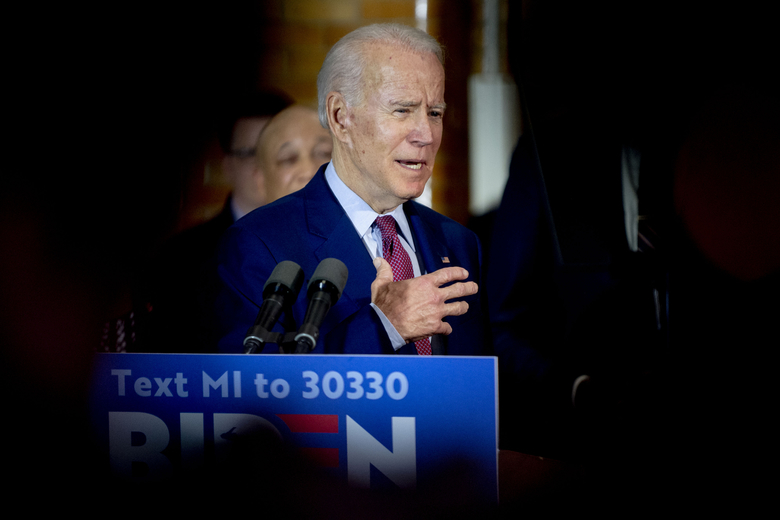 Former Vice President Joe Biden speaks at a campaign stop on Monday, March 9, 2020 at Berston Field House in Flint, Mich. Biden is a candidate for the Democratic nomination for president. (Jake May/The Flint Journal via AP)