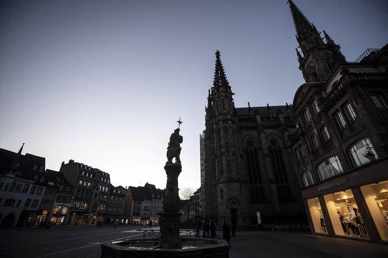 FILE – In this photo taken on March 9, 2020 shows the center of Mulhouse, eastern France. The Grand Est region is now the epicenter of the outbreak in France, which has buried the third most virus victims in Europe, after Italy and Spain. The crisis there can be traced largely to a daylong evangelical church gathering in Mulhouse of hundreds of people at the end of February. For most people, the new coronavirus causes only mild or moderate symptoms. For some it can cause more severe illness. (AP Photo/Jean-Francois Badias, File)