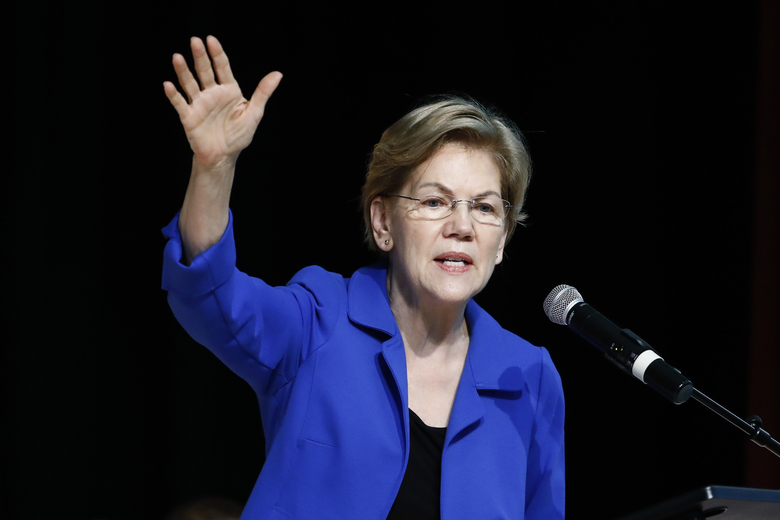 FILE – In this Feb. 26, 2020 file photo Democratic presidential candidate Sen. Elizabeth Warren, D-Mass., speaks at the National Action Network South Carolina Ministers' Breakfast in North Charleston, S.C. (AP Photo/Matt Rourke)