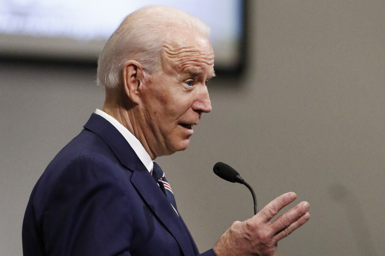 Democratic presidential candidate and former Vice President Joe Biden speaks at New Hope Baptist Church, Sunday, March 8, 2020, in Jackson, Miss. (AP Photo/Rogelio V. Solis)