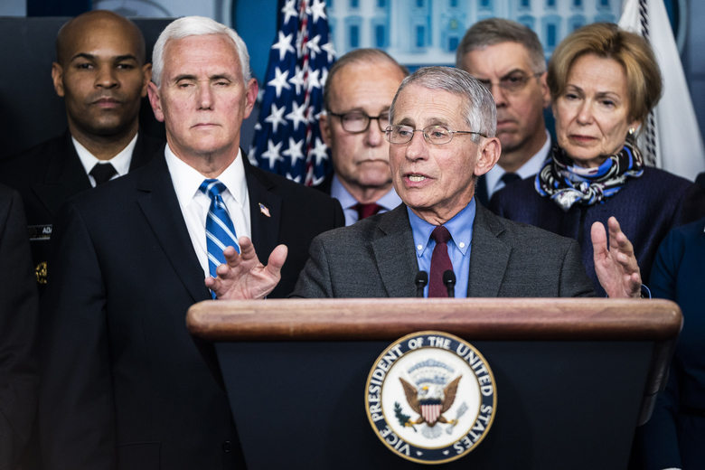 National Institute for Allergy and Infectious Diseases Director Dr. Anthony Fauci, Vice President Mike Pence and the coronavirus task force talk about COVID-19 in the briefing room at the White House on Tuesday. (Washington Post photo by Jabin Botsford).